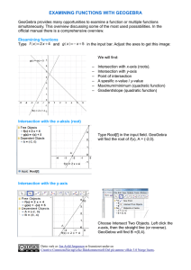 EXAMINING FUNCTIONS WITH GEOGEBRA