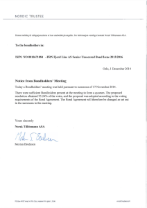 Notice from Bondholders` Meeting