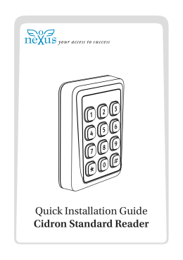 Quick Installation Guide Cidron Standard Reader
