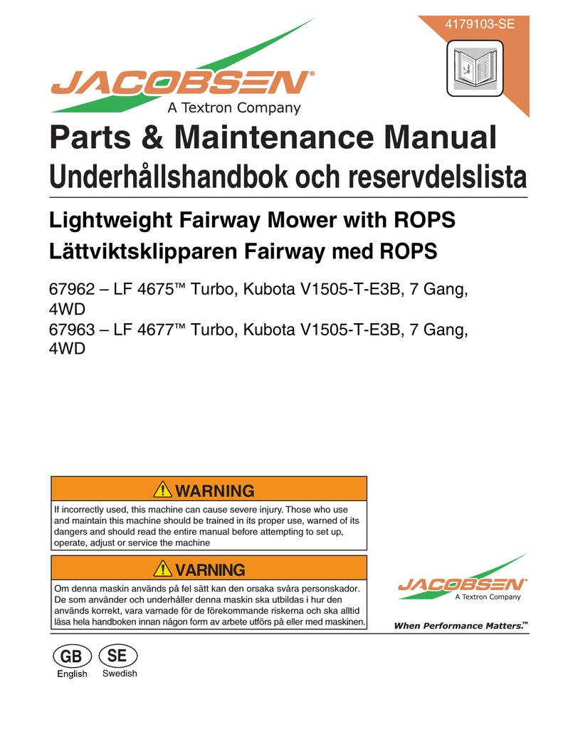Parts & Maintenance Manual Underhållshandbok och