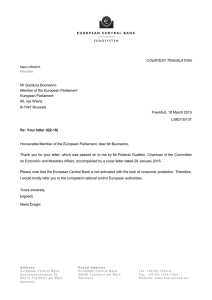Re: Your letter (QZ-19) - European Central Bank