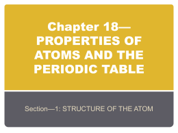 Chapter 18*PROPERTIES OF ATOMS AND THE PERIODIC TABLE