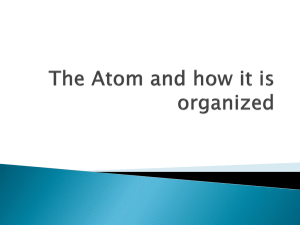 The Atom and how it is organized - Cashmere