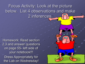 Focus Activity: Look at the picture below. List 4 observations and