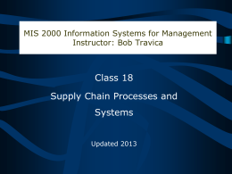 Supply Chain Processes and Systems