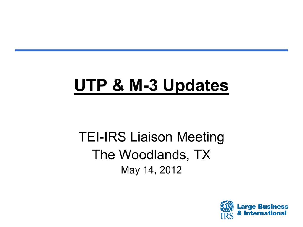 UTP_M3 Updates TEI