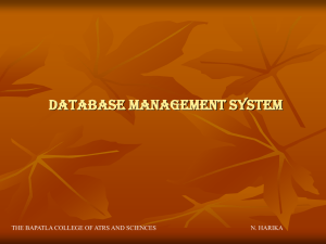 Database Management System - Bapatla College of Arts & Sciences