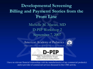 Developmental Screening Billing and Payment