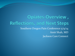 Opiates-Overview , Reflections, and Next Steps