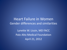 Heart Failure in Women Gender differences and similarities