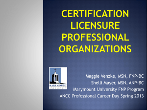 FNP Certifying Associations - American Nurses Credentialing Center