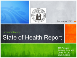 Haywood County State of Health Report