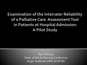 Examination of the Interrater Reliability of a Palliative Care