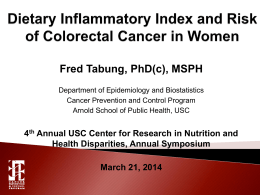 The Dietary Inflammatory Index and Risk of Colorectal Cancer in