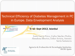 Technical Efficiency of Diabetes Management in PC in Europe. Data