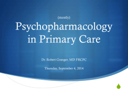 Psychopharmacology in Primary Care