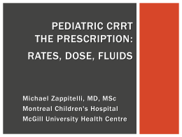 Prescription Rates Dose Fluids - Pediatric Continuous Renal