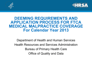 Deeming Requirements and Application Process for FTCA