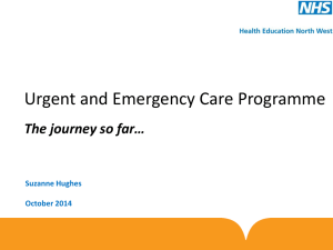 Urgent and Emergency Care Workforce Programme Update