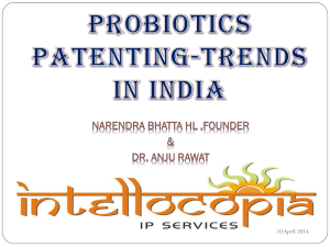 Probiotics patenting trends in India
