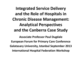 Chronic Disease Management in Canberra Hospital and Health
