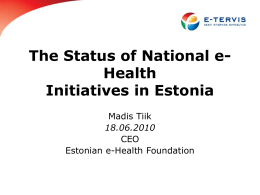 Nationwide e-Health platform Estonia