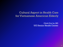 Cultural Aspect in Health Care for Vietnamese American