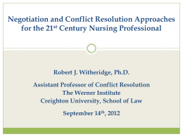 Robert J. Witheridge, Ph.D. Assistant Professor of Conflict