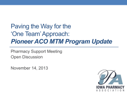 ACO Project Update - Iowa Pharmacy Association