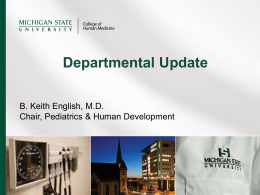 Departmental Update - Department of Pediatrics and Human
