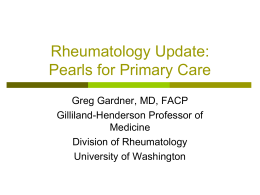 Rheumatology Pearls for Primary Care