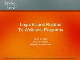 Legal Issues Related to Wellness Programs