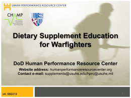 Dietary Supplement Education for Warfighters