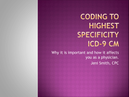 Coding to Highest Specificity ICD