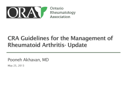 RA Guidelines - Ontario Rheumatology Association