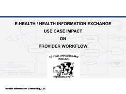 Use Case Discussions – Workflow and Standards in HIE
