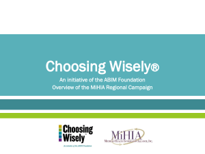 Choosing Wisely - Consumer Health Choices