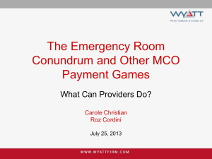 The Emergency Room Conundrum and Other MCO Payment Games