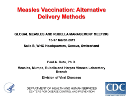 Measles vaccination: Alternative delivery methods