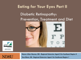 Diabetic Retinopathy: Prevention, Treatment and Diet