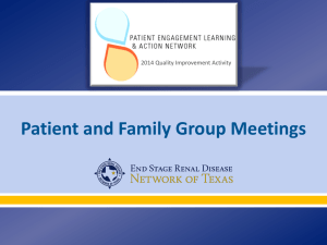 Patient & Family Group Staff Training PowerPoint