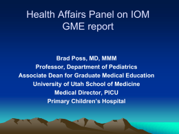 Pain and Sedation Issues in Pediatrics - University of Utah