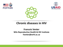 Chronic lifestyle diseases in patients on ARVs