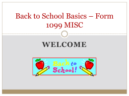 Back to School Basics * Form 1099 MISC