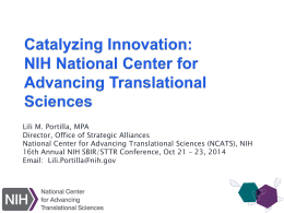 Catalyzing Innovation NIH National Center for Advancing