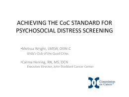 Achieving the CoC Standard for Psychosocial Distress Screening