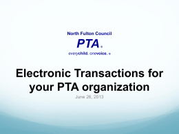 Electronic Transfers - North Fulton Council PTA
