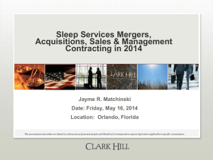 Sleep Services Mergers, Acquisitions, Sales & Management