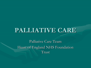 PALLIATIVE CARE - Heart of England Faculty of Education