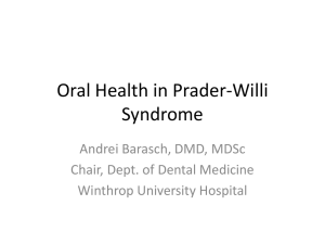 Oral health in PWS - Prader-Willi Syndrome Association